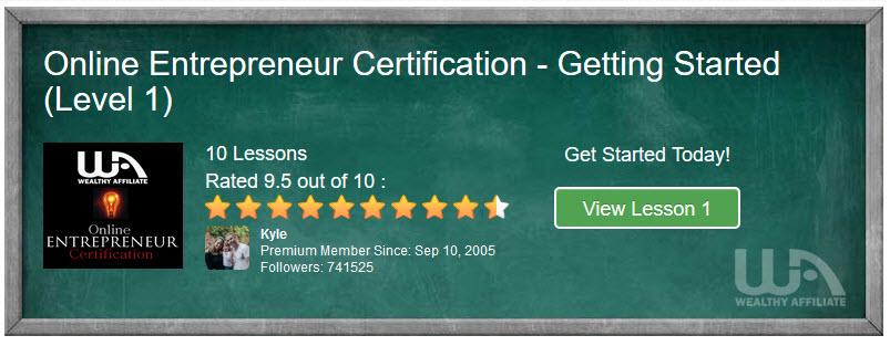 Online Entrepreneur Certification Getting Started Level 1