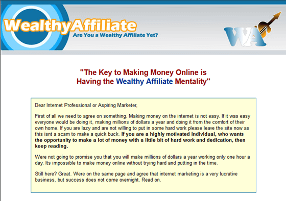 what is the wealthy affiliate for or about