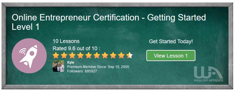 Wealthy Affiliate Platform - Online Entrepreneur Certification Level 1
