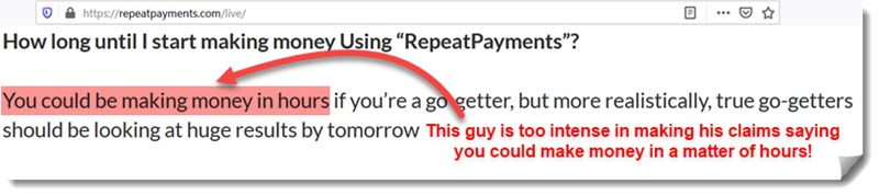 repeat payments money claims
