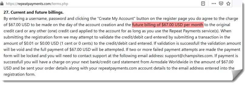 repeat payments monthly charge