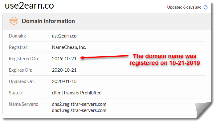 use2earn review domain registration
